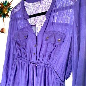 Motherhood baby doll lace long - 3/4 sleeve S blue